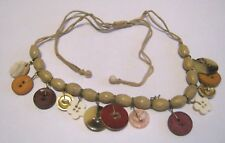 Great rustic style necklace tan string and wooden plastic buttons adjustable