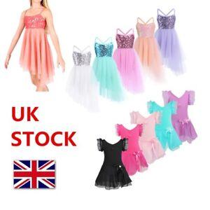 UK Kids Girl Ballet Lyrical Dress Gymnastics Leotard Contemporary Dance Costume