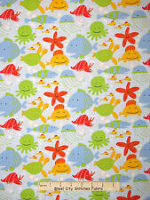 Ocean Starfish Octopus Whale Fish Blue Cotton Fabric Free Spirit Beach YARD
