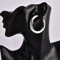Beautiful 5cm SILVER tone shiny plain chunky thick tube hoop earrings