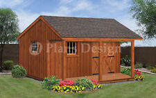 16 x 16 ft Garden Storage Shed / Guest House Building Blueprint Plans,  #P51616