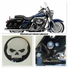 Pour Harley Davidson Road King bouchon huile cover noir brillant avec Skull