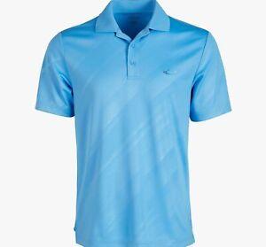 $244 Greg Norman Men's Blue Short-Sleeve Button Play-Dry Golf Polo Shirt Size S