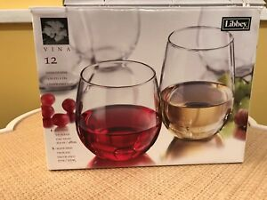 Libbey Vina Stemless Wine Glasses for Red and White Wines, Set of 11 NEW