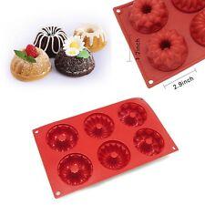 6 Cavity Silicone Mold Mini Bundt Savarin Cake Muffin Chocolate Baking Pan Mould
