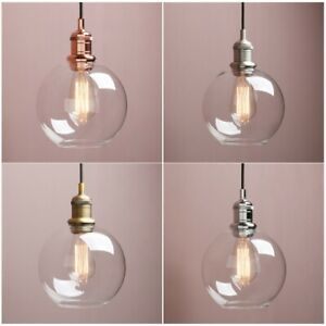"""Vintage Industrial 7.9"""" Clear Glass Globe Pendant Light Kitchen Ceiling Lamp"""