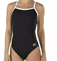 NWT Speedo Women's One Piece Swimsuit Solid Flyback Training Suit Black Size 8