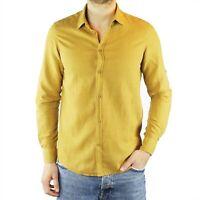 Camicia Uomo Lino Senape Slim Fit Manica Lunga Estiva Sartoriale Elegante Casual
