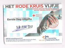 nederland coincard EERSTE DAG VAN UITGIFTE RODE KRUIS VIJFJE 2017