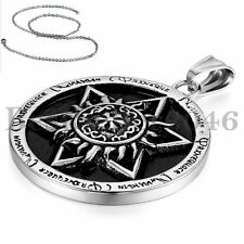 "Vintage Jewish Star of David Hexagram Pendant Men Unisex Chain Necklace 22"" *NEW"