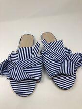 Catherine Malandrino Sandals Slides White Blue Striped Fabric womens size 8 364