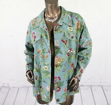 SILHOUETTES (1X) Womens Green Floral Cotton Button Casual Jean Jacket