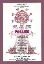 """Stephen Sondheim """"FOLLIES"""" Alexis Smith / Yvonne De Carlo 1971 Tryout Flyer"""