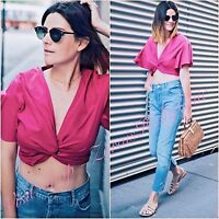 Zara Fuchsia Pink Crop Top Short Sleeves Size S M  L 8 10 12 US 4 6 8 Blogger ❤