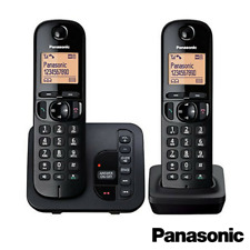 PANASONIC TGC222 CORDLESS TWIN PHONE WITH ANSWERING MACHINE BLACK KX-TGC222EB