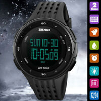 Fashion Mens Waterproof LED Date Digital Sports Quartz Wrist Watch Army Military