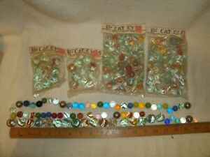 Vintage 4 Bags of Vitro Cat Eye Marbles five star plus lot