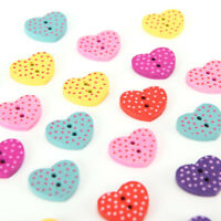 20 pcs wood sewing button scrapbooking heart mixed two holes dot pattern&l