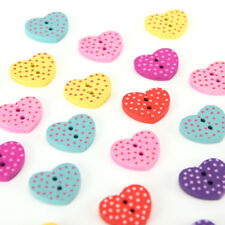 20 Pcs Wood Sewing Button Scrapbooking Heart Mixed Two Holes Dot Pattern 15x13mm