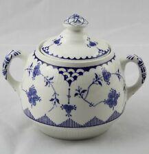 Furnivals Denmark Blue & White Covered Sugar Bowl England Excellent