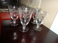 """SET OF 5 VINTAGE ETCHED GLASSES WATER GOBLET GLASS 6"""" TALL 3 1/2""""D"""