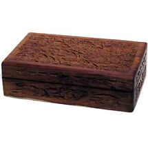 """New-5"""" x 8""""Beautifully Handcrafted Floral Carved Box - Jewelry Tarot Decoration"""