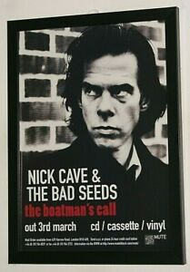 NICK CAVE Framed A4 1997 `boatmans call`ALBUM Original band promo ART poster