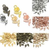 Wholesale 16pcs Rose Flower Charm Pendant Tibetan Silver Beads Jewelry Making