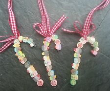 CAKE & LOLLY CANDY CANES christmas Tree decorations x 3 Red Gingham Ribbon