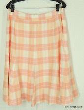 Brooks Brothers 12 Fun Pink & White Plaid A Line Career Weekeend Linen Skirt