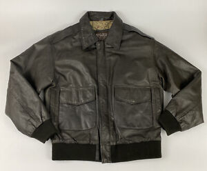 Black Leather US Army Air Force USAF Type A-2 Flight Jacket Men's Size M AA