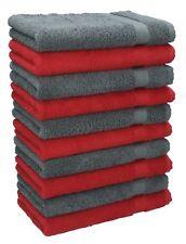 Betz Lot de 10 serviettes débarbouillettes Premium rouge & gris anthracite