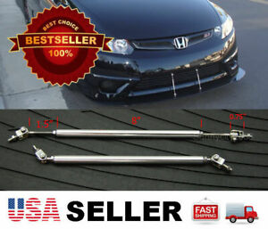 "Silver 8"" adjustable extension Rod Bumper Lip Diffuser splitter For Honda Acura"