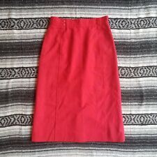 Vintage The Villager Sz 8 Fully Lined Knee Length A-Line Skirt Red Button Detail