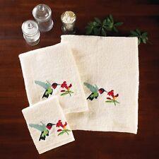 3 PC Embroidered HUMMINGBIRD Bath Hand Towels & Washcloth MACH  WASH NEW