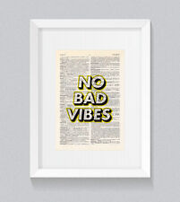 No Bad Vibes Wording Yellow Vintage Dictionary Book Print Art