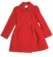 Nwt Kate Spade Womens Coat 2  Ruffle Trim Bow Back Red Long Sleeve