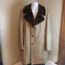Great Western Wool Jacket Coat Herringbone Brown Beige Faux Fur Collar Lined 42L