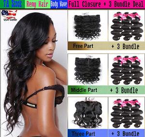 """3 Bundles Body Wave Virgin Remy Human Hair w/ FREE 13""""x4"""" Frontal Natural Black"""
