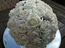 Wedding flowers package Brides Maids Buttonholes ivory foam roses and diamante