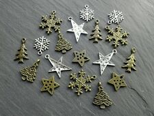 18 charmes de Noël bronze antique / Argent Mix arbre / Star / iceflakes