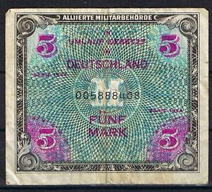 5 Mark Banknote Der Allierten Military Authorities Edition 1944 IN Germany
