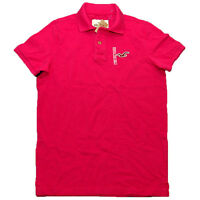 Hollister Mens Polo Shirt Slim Fit Mesh Collared Short Sleeve Logo Top L Pink
