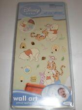 "1 PACK  DISNEY BABY WINNIE THE POOH WALL ART 4 SHEETS 10""x17.5""  PRE CUT NIP"