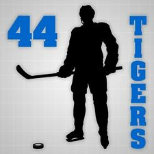 Hockey player wall silhouette,Hockey player decal name number,boys room decor