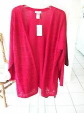 Woman's Red Metallic Sweater w3/4 Sleeves from Catherine's Size 3X NWT