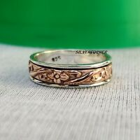 Solid 925 Sterling Silver Spinner Ring Wide Band Meditation  Statement Jewelry