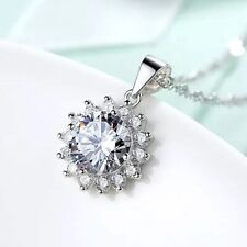 925 Sterling Silver White Crystal Pendant Necklace Chain Fashion Women's Jewelry
