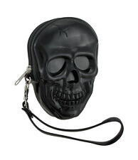 Glossy Black Molded Skull Shaped Wristlet Purse w/Removable Strap