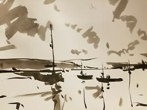 JOSE TRUJILLO ABSTRACT EXPRESSIONISM INK WASH on Paper Lake Boats Fauvism Tonal